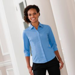 Women's ¾ sleeve polycotton easycare fitted poplin shirt Thumbnail