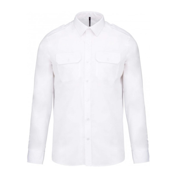 39e5de5180d Kariban Mens Long Sleeve Pilot Shirt Sea Design - Uniform   Yachtwear