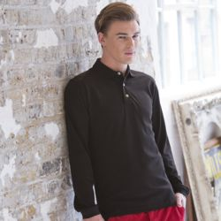 Henbury Long sleeve cotton polo shirt Thumbnail