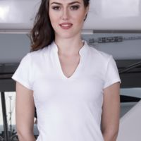 Ladies short sleeve v-neck mandarin collar top - KK770 Thumbnail