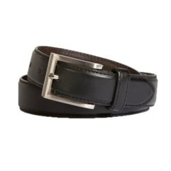 Classic Leather Belt with Silver Buckle - 3cm Thumbnail