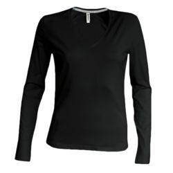 Kariban Ladies L/S V Neck T-Shirt - K382 Thumbnail