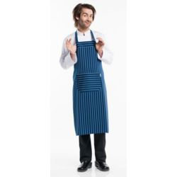 Chaud Devant Navy/White Stripe Bib Apron with Front Pocket Thumbnail
