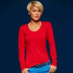 JN Long sleeve stretch V neck t-shirt Thumbnail
