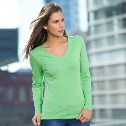 Ladies JN Long sleeve stretch V neck t-shirt Thumbnail