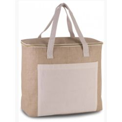 Large Jute and Cotton Cool Bag  Thumbnail