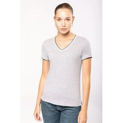 Kariban ladies V-neck T with contrast stripes Thumbnail
