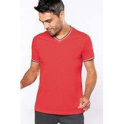 Kariban men's V-neck T with contrast stripes Thumbnail